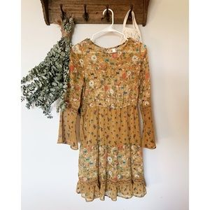Mustard Forest Print Dress with Flowy Sleeves
